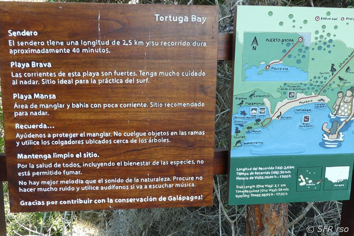 Schild am Turtle Bay, Galapagos