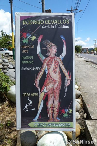 Plakat mit Bodypainter Cevallos in Vera Cruz in Ecuador
