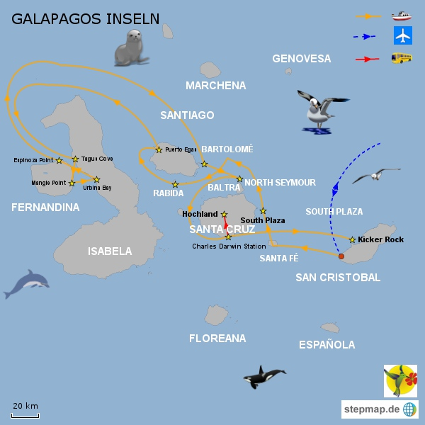 Galapagos Majestic, 8 Tage Route B