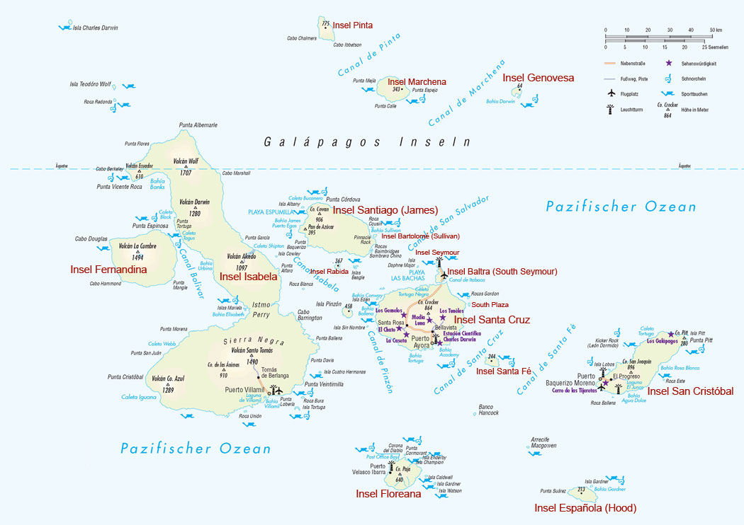 galapagos inseln karte Infos und Beschreibungen der einzelnen Galápagos Inseln